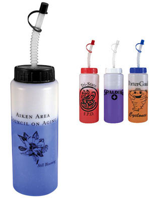 32 oz Customized Mood Sports Bottle with Straw